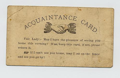 vizītkartes no vēstures